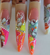 hello kitty stiletto nail design tutorial step by youtube