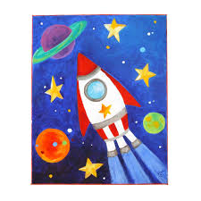 Kids Space Room by Art For Kids Rocket Ship 8x10 Acrylic Canvas Space By Njoyart
