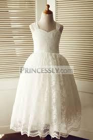 backless ivory lace wedding flower dress