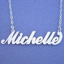 Silver Name Necklace Personalized Jewelry Sterling Silver Michelle Name Necklace Pendant