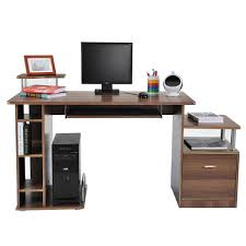 Schreibtisch Computer Homcom Computertisch Eckschreibtisch Schreibtisch Braun Aosom De