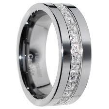 tungsten wedding ring 1 carat princess cut polished finish pipe cut tungsten wedding