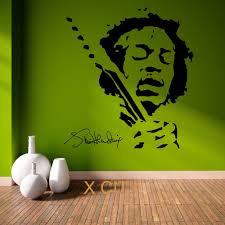 jimmy hendrix music pop star vinyl wall art room sticker decal jimmy hendrix music pop star vinyl wall art room sticker decal door window stencils mural decor 62x57cm in wall stickers from home garden on
