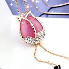 opal flower necklace images Opal flower tassel long necklace balvelfashion jpg