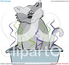 clipart cat using a stinky kitty litter box royalty free vector