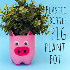 plastic bottle pig plant pot u2014 doodle and stitch