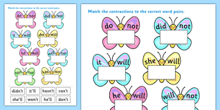 contractions butterfly activity sheets contractions