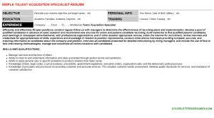 talent acquisition specialist cover letter u0026 resume
