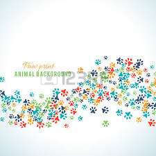 colorful animal footprint ornament border isolated on white