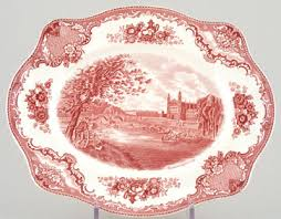 johnson bros britain castles pink dish or platter c1950s