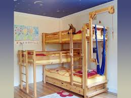 Bunk Bed Sets Brown Wooden Bunk Bed With Yellow Bedding Set Completed