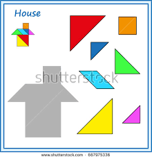 chinese puzzle tangram cut glue vector stock vector 668024902