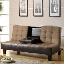 Sofa Legs Lowes by Shop Coaster Fine Furniture Tan Dark Brown Microfiber Futon At