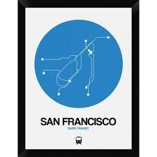 san francisco map framed naxart san francisco blue subway map framed graphic print