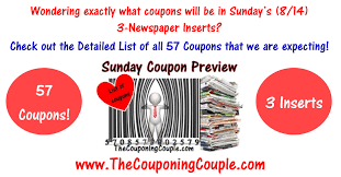 sunday coupon preview for 8 14 16 3 inserts u003d 57 coupons