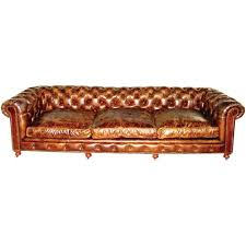 Leather Chesterfield Sofa Bed Pair Of Monumental Distressed Leather Chesterfield Sofas For Sale