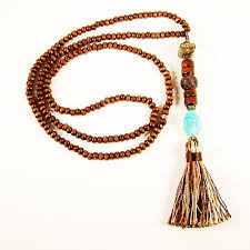 beaded tassel necklace images Wooden bead tassel necklace with multicolor silk thread tassel jpg