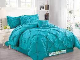 aqua ruffle comforter 6 pc diamond pinched pleated ruffled pintuck comforter set