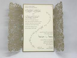 lace invitations gold leaf vines lace laser cut gatefold and ecru wedding