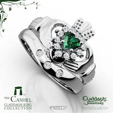 claddagh wedding ring sets cashel emerald white gold claddagh wedding set