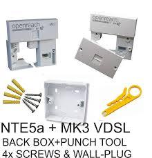 nte5a master socket mk3 vdsl faceplate back box punch down