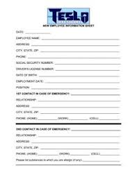 employees information sheet employee personal information form template hardsell pinterest