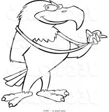 eagle cartoon drawing outlined american bald eagle royalty free