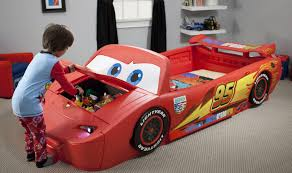 Red Night Racer Car Bed - Race car bunk bed