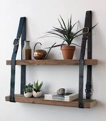Wood Shelves Diy by Diy Hanging Shelves With Vintage Leather Belts U0026 Old Wooden Boards