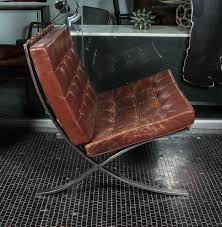 brown leather barcelona chair by ludwig mies van der rohe for