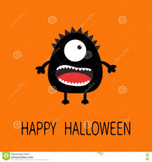 halloween teeth happy halloween greeting card black silhouette monster with one