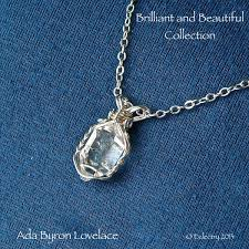 sterling silver quartz necklace images Ada lovelace herkimer diamond necklace eclectry hand crafted jpg