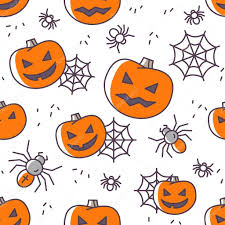 halloween spider web background halloween seamless pattern with outline icons vector illustration