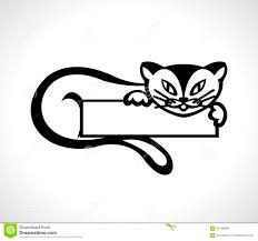 outline drawing ink cat plate stock vector image