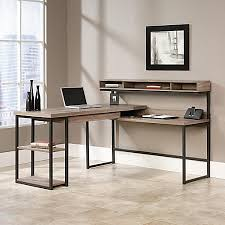 Office Depot L Desk Sauder Transit Collection Multi Tiered L Shaped Desk Salted Oak By