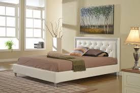 Tufted Platform Bed Florenza White Leather Tufted Platform Bed Frame Kassa Mall Home