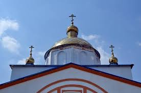 church crosses the top of the orthodox church with crosses and domes stock image