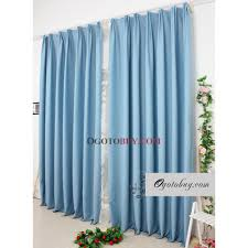Cotton Drapery Panels Thermal Solid Curtains With Blue Polyester Cotton Blend Material