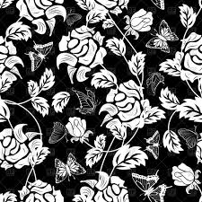 seamless black floral wallpaper pattern vector clipart image