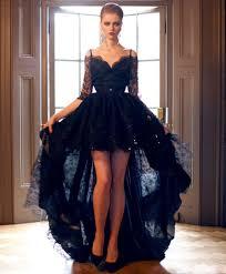 2017 new short front long back gothic black lace wedding dresses