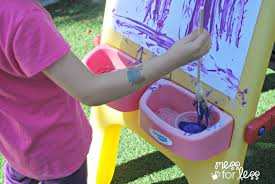 painting with rubber band paintbrushes mess for less