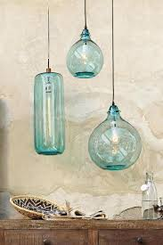 Colored Glass Pendant Lights with Two Hanging As Bedside Lights Salon Bleu Glass Demijohn Pendant