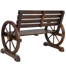 bcp patio garden wooden wagon wheel bench rustic wood design pics