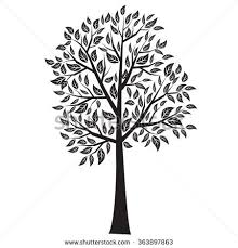 tree leaves silhouette vector stock vector 464413679
