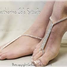 barefoot sandals wedding something blue rhinestone silver barefoot sandals wedding shoes