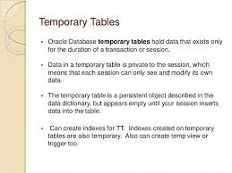 Create Temporary Table Oracle Tables