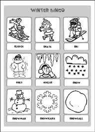 winter vocabulary for kids learning english printable resources