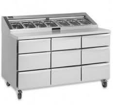 pizza prep table stainless steel with storage compartment