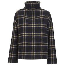 ganni womens state st check jumper dress blues check free uk