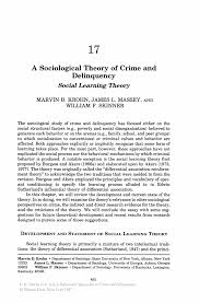 a sociological theory of crime and delinquency springer